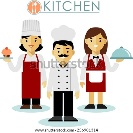 Chef cook man and woman, waitress in uniform in flat style - stock vector