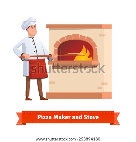Chef cook putting pizza on a peel to a brick stone furnace with fire. Flat style illustration or icon. EPS 10 vector. - stock vector