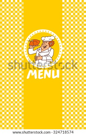 Chef Cook Restaurant Menu/ Illustration of a chef cook restaurant poster background,  - stock vector