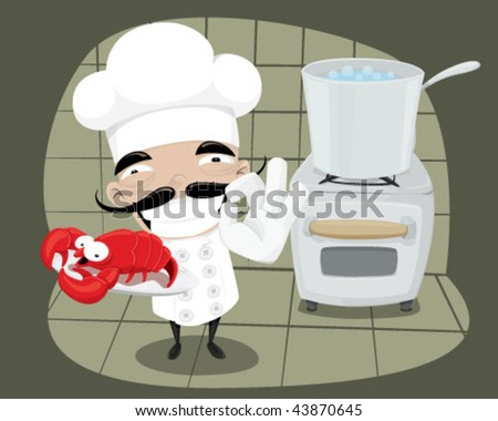 Chef cooking a lobster. - stock vector