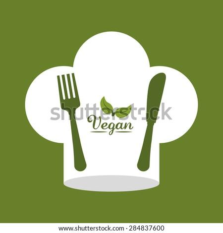 Chef design over green background, vector illustration. - stock vector