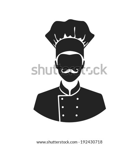 chef flat style black and white web icon - stock vector