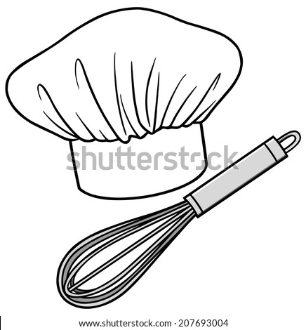 Chef Hat and Whisk - stock vector