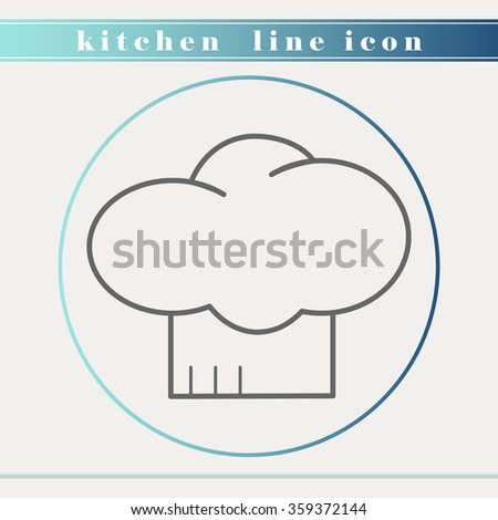 Chef hat outline thin line icon. Household appliance, kitchen and restaurant accessories, equipment, cooking utensil, cutlery tools, kitchenware and cookware for food preparation. Flat design. - stock vector