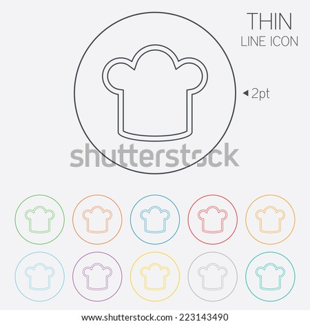 Chef hat sign icon. Cooking symbol. Cooks hat. Thin line circle web icons with outline. Vector