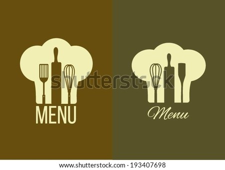 Chef hat silhouette with cooking utensils inside - stock vector