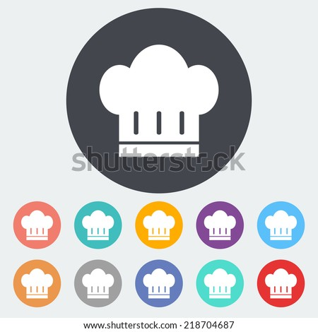 Chef hat. Single flat icon on the circle. Vector illustration.