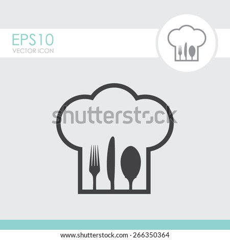 Chef hat with fork, spoon and knife inside. - stock vector