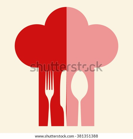Chef hat with fork, spoon and knife inside  - stock vector