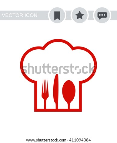 Chef hat with fork, spoon and knife inside Icon.  - stock vector