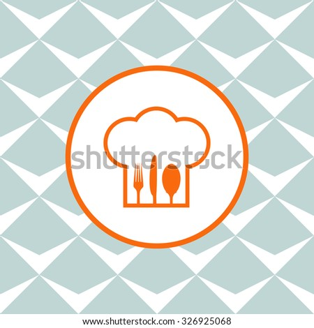 Chef hat with fork, spoon and knife inside. Seamless background with geometric design. - stock vector
