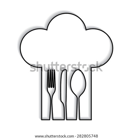 Chef hat with fork, spoon and knife inside with shadow - stock vector