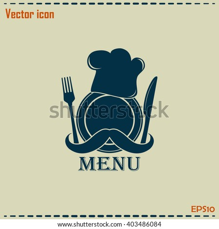 Chef hat with mustache. Foods Service icon.  - stock vector