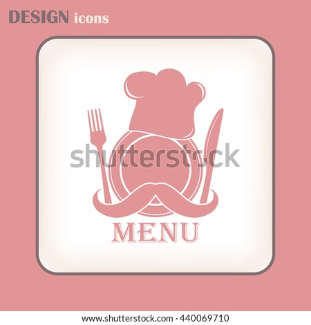 Chef hat with mustache. Foods Service icon. Menu card. vector  - stock vector