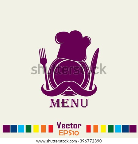 Chef hat with mustache. Foods Service icon. Menu card. vector il - stock vector