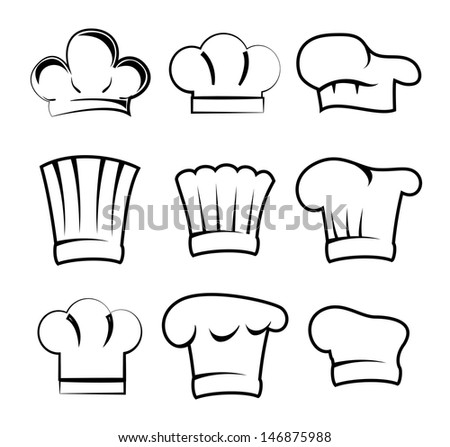 chef hats over white background vector illustration