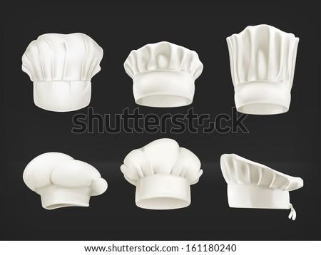 Chef hats vector set on black - stock vector