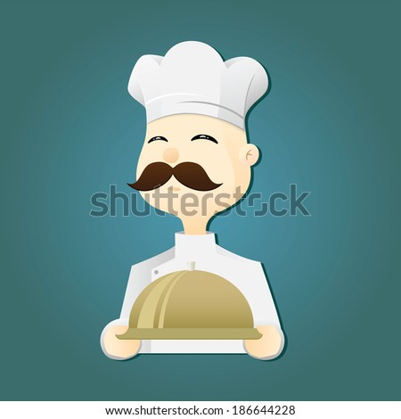 Chef Holding a Silver Tray - stock vector