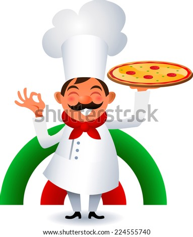 Chef holding italian original Pizza vector cartoon illustration