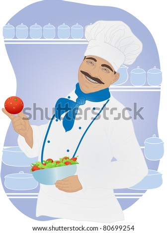 Chef holding ripe tomato and a plate of fresh vegetables on the background of the kitchen - stock vector