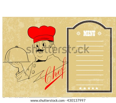 chef holding silver platter with restaurant menu