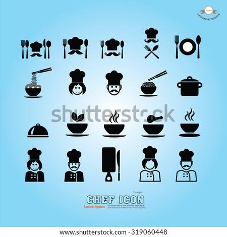 chef icon.Chef icon with kitchenware.Chef symbol.vector illustration. - stock vector