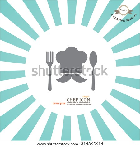 chef icon.Chef icon with spoon and fork on sunburst background.Chef symbol.vector illustration. - stock vector