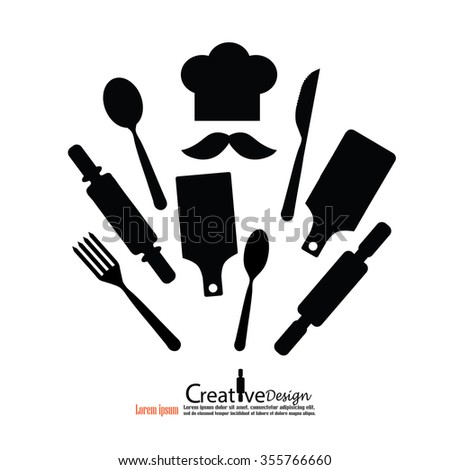 chef icon.Chef icon with spoon , fork ,knife,rolling pin and block .Chef symbol.vector illustration. - stock vector