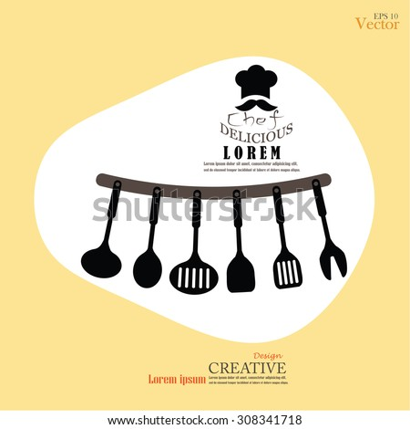 Chef icon. Kitchen tools - spatula, spoon, ladle. Vector illustration. - stock vector