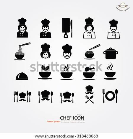 chef icons. Chef icon with kitchenware. Chef symbol. vector illustration. - stock vector