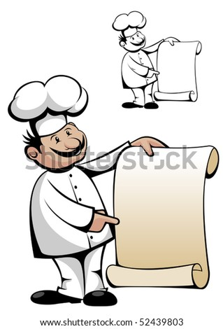 Chef in uniform with menu. Jpeg version also available - stock vector