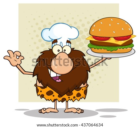 Chef Male Caveman Cartoon Mascot Character Holding A Big Burger And Gesturing Ok. Vector Illustration Isolated On White Background - stock vector
