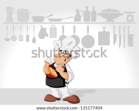 Chef man cooking delicious meal in restaurant kitchen. Gourmet food. - stock vector
