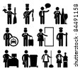 Chef Manager Waiter Butler Taxi Driver Bellman Receptionist Security Guard Cashier Cleaner Maid Babysitter Nanny Job Occupation Sign Pictogram Symbol Icon - stock photo