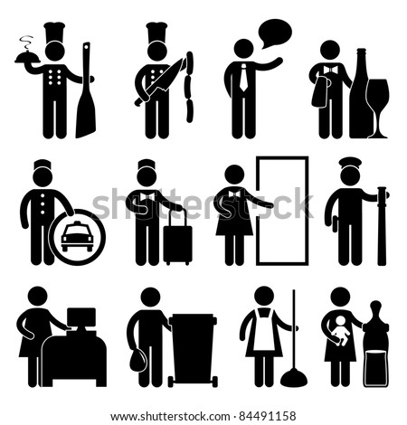 Chef Manager Waiter Butler Taxi Driver Bellman Receptionist Security Guard Cashier Cleaner Maid Babysitter Nanny Job Occupation Sign Pictogram Symbol Icon - stock vector