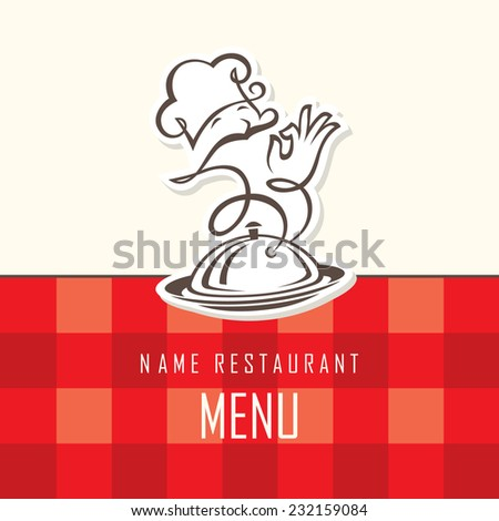 chef menu design on a red background - stock vector