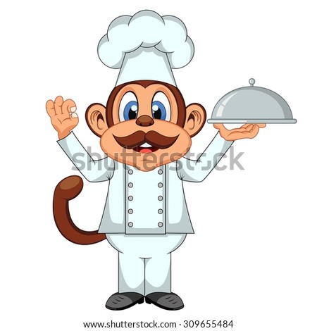 Chef Monkey cartoon - stock vector
