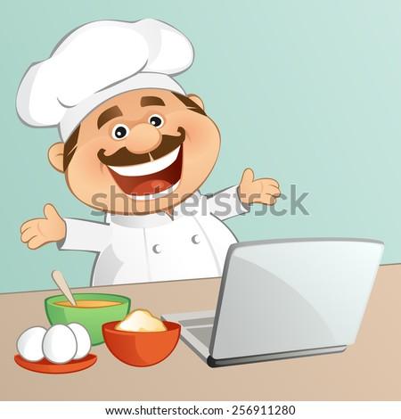 Chef (On-line Recipe) - stock vector