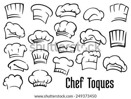 Chef or baker hats and toques set in cartoon style - stock vector