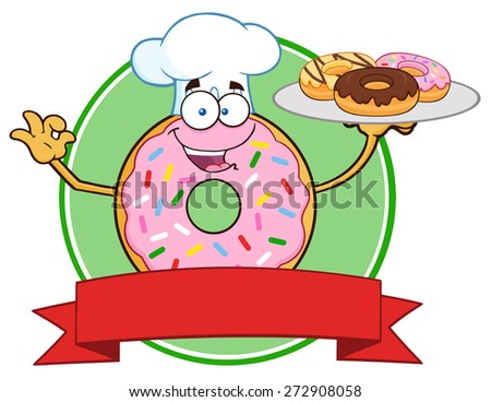 Chef Pink Donut Cartoon Character Serving Donuts Circle Label. Vector Illustration Isolated On White - stock vector
