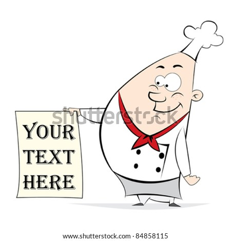Chef Pizza Text Note - stock vector