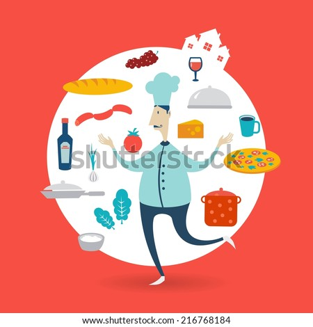 chef preparing a meal illustration - stock vector
