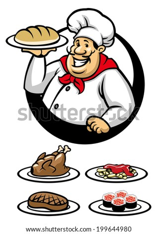 chef presenting a plate of dish - stock vector
