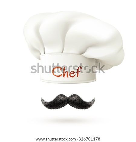 Chef realistic concept with white hat and mustache isolated vector illustration  - stock vector