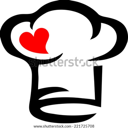 Chef`s hat, heart, Cooking with love! - stock vector