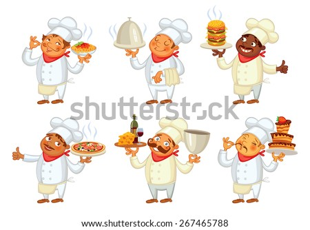 Chef serving the dish. Funny cartoon character. Vector illustration. Isolated on white background. Set - stock vector
