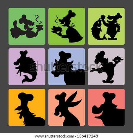 Chef Silhouette Symbols 2. Smooth and detail chef activity black shadow. Good use for symbol, icon, logo, or any design you want. - stock vector