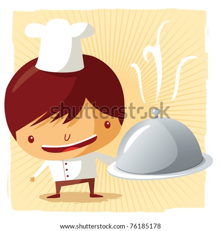 Chef - silver platter - stock vector
