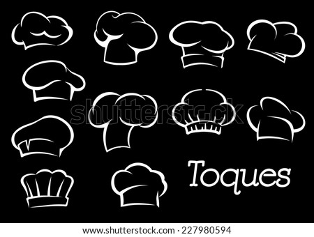 Chef toques and hats set in sketch style isolated on background. For cafe, restaurant or menu design