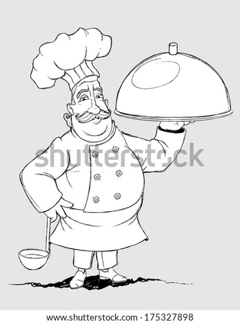 Chef with a signature dishes. Freehand drawing - stock vector